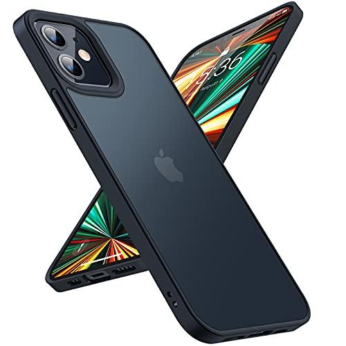 TORRAS Traslucido Cover iPhone 12 e Cover iPhone 12 PRO-[Militare Antiurto e Estetico] Resistente Rigida Sottile Custodia iPhone 12 /Custodia iPhone 12 PRO - Nera