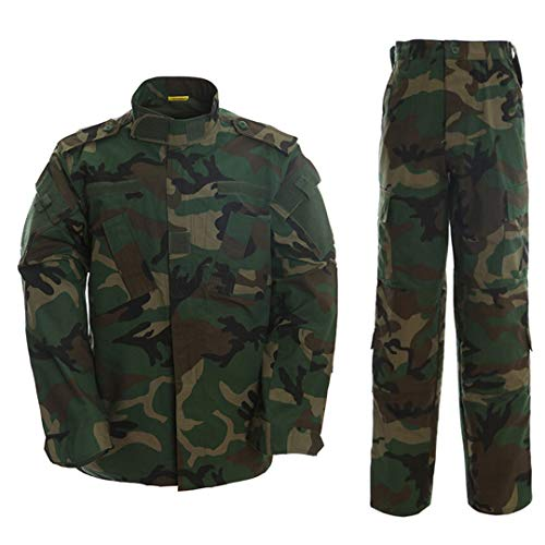 PEIJIAN Táctica de Camuflaje del ejército Combate Uniforme Uniforme de la Chaqueta de los Hombres Multicamara Militar Ropa determinada de Airsoft Camo Jackets + Pants Woodland Camo M