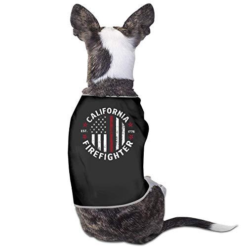 Florasun California Firefighter Mode Haustier Kleidung Hund Shirt für Katzen und kleine Hunde Katze Weste Kleidung Welpen Kostüme Schwarz S