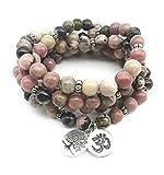 Artisanal Mala 108 Perles en Rhodonite Naturelle - Symboles Ôm et Arbre de Vie