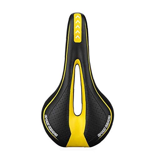 Sillín De Gel Acolchado del Amortiguador Transpirable para MTB De Aluminio De Ciclo Amarillo