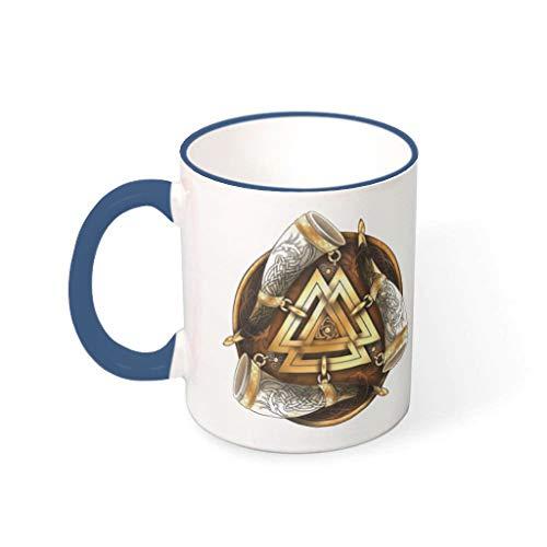 Taza de café vikingo, triple cuerno de cerámica de primera clase personal, linda – taza de cerámica para la oficina para aniversario azul medianoche 330 ml