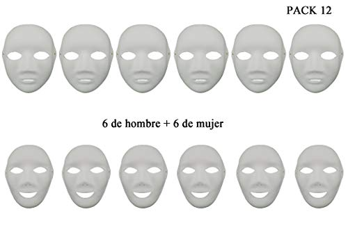 12 Máscaras Blancas para Pintar de Pulpa DIY para Disfraces de Carnaval Halloween Cosplay Bricolaje