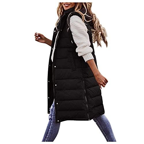 Dasongff - Chaleco de plumas para mujer, largo con capucha, sin mangas, cálido, abrigo de plumón, con capucha, chaqueta acolchada para exterior