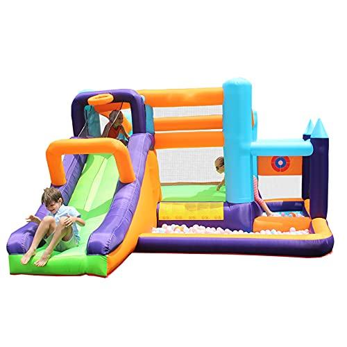 AIYIFU Castillo Hinchable Centro de Juegos Hinchable con Toboganes, Canasta de Baloncesto, Piscina para Parque Patio Jardín Up Cama Elástica con Tobogán Cama de Salto Inflador,