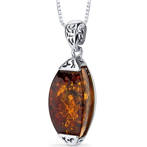 Baltic Amber Gallery Pendant Necklace Sterling Silver Cognac Color