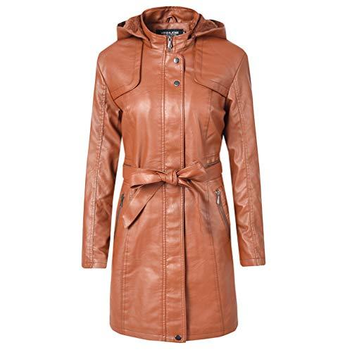 DISSA P1921 - Abrigo de piel sintética con capucha para mujer Marrón-2 42