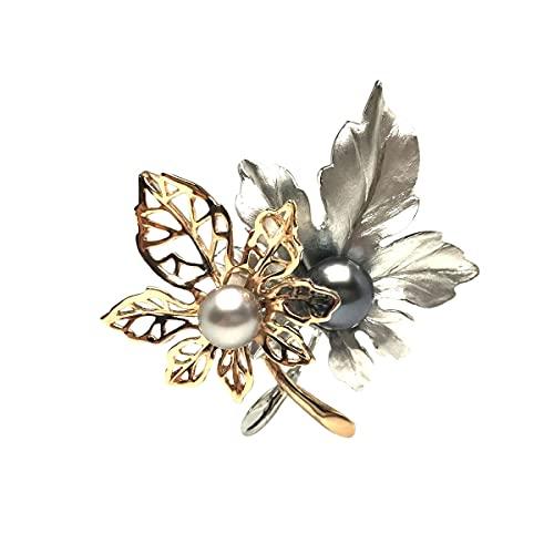 Isowa Pearl(伊勢志摩の真珠専門店 イソワパール) 黒蝶真珠 ブローチ 9.7mm 11.1mm ミドルグリーン ホワイトグレー シルバー 植物 68159