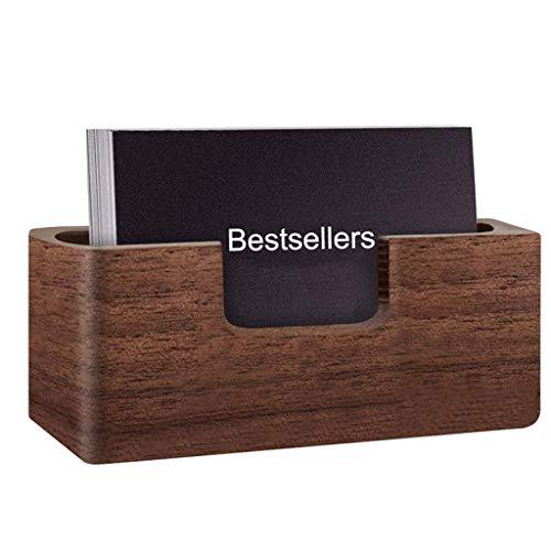 Boji Tarjetero de madera, caja de almacenamiento para oficina, escritorio, adornos, soporte para tarjetas de nombre, para oficina, color marrón