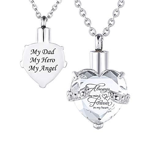 HooAMI[ホーアムアイ] メモリアルペンダント 防水仕様 遺骨ペンダント ハート ネックレス レディース メンズ ステンレス My Dad My Hero My Angel(白)