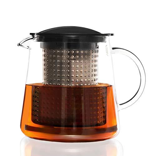Finum TEA CONTROL Teekanne aus Glas mit patentierter Brühkontrolle  - Teebereiter mit Dauerfilter - Teezubereiter 0,8 Liter - Glaskanne für Tee, Schwarz