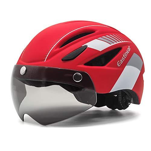 EASTINEAR Casco Bicicleta Adulto con Visera Extraíble Gafas Montaña Unisex Casco MTB con Luz Recargable para Hombre Mujer Casco de Ciclismo (Rojo Blanco)