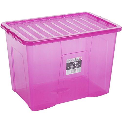 H-WHAM Hochwertige XXL Box mit Deckel, 80l, 60x40cm Sicherer Clip-Verschluss Stapelbar Schadstofffrei Pink-transparent Transport-Kiste Lagerbox Aufbewahrungs-Kiste Aufbewahrungsbox Stapelbox