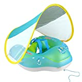 Baby Swimming Pool Float with Sun Canopy, Anti-Flip, Inflatable Baby Float with Safe Bottom Support and Adjustable Canopy, Infant Pool Floats for The Age of 3-24 Months