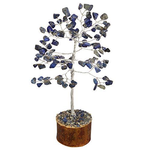 YATHABI Lapis Lazuli Money Bonsai Tree Feng Shui Sculpture Reiki Healing Prosperity Crystals Aura Cleansing Chakra Balancing Home Decor Handmade Trees Wealth Lucky Charm Silver Wire Size 7-8 Inch