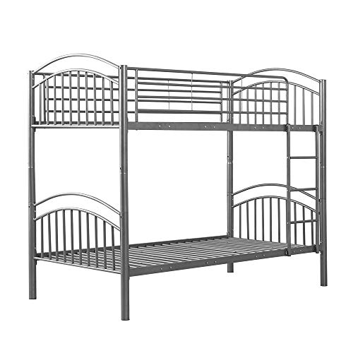 Panana Twin Bunk Beds Metal Bunk Bed Frame with Movable Ladder Steady Metal Slats for Kids Adult Twins (Silver, Single Bunk(can split to 2bed))