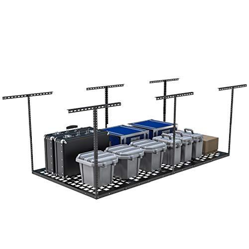 VersaTables USA Made Modular Overhead Garage Storage Rack | Adjustable Ceiling Storage | Garage Storage | Heavy Duty Steel | 8' Length x 4' Width | 22''- 40