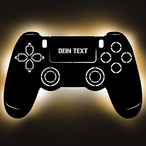 Gaming Controller 4 Lampe aus Holz - personalisierbares Geschenk für Männer - Gaming Zimmer Deko - Gamingpad Lampe - personalisierbar zum Hinstellen/Aufhängen - Gaming Geschenk - persönliches Geschenk