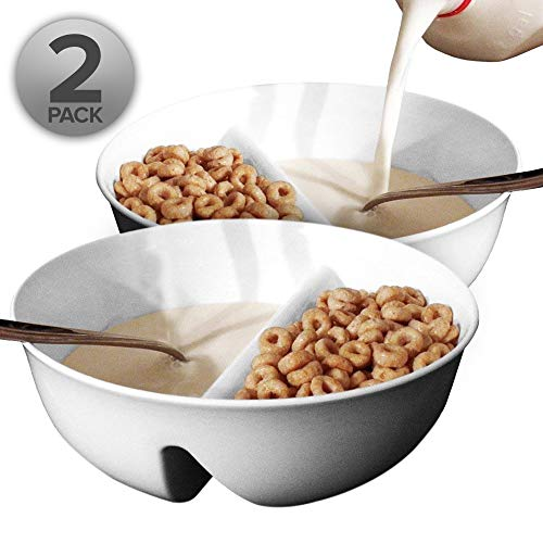 2 Pack - Just Crunch Anti-Soggy Cereal Bowl - Keeps Cereal Fresh & Crunchy | BPA Free | Microwave Safe | Ice Cream & Topping, Yogurt & Berries, Fries & Ketchup and More - White