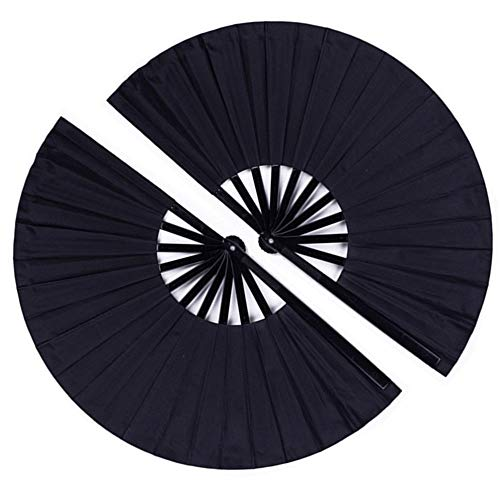 2 Pack Large Folding Hand Fan, Minelife Nylon-Cloth Vintage Retro Fabric Fans, Chinese Kung Fu Tai Chi Hand Fan for Men/Women, Festival, Dance, Gift, Performance, Decorations (Black)