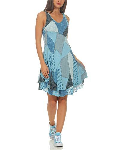 ZARMEXX Damen Sommerkleid Strand Kleid Patchwork-Print Ärmellos doppellagig A-Linie hellblau One Size (36-40)