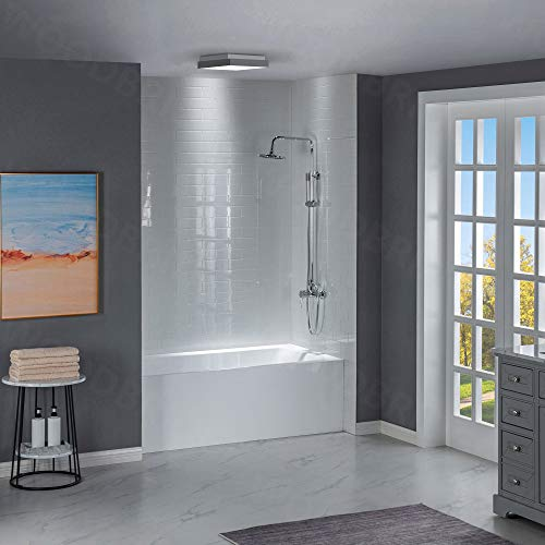 WOODBRIDGE 60-Inch Contemporary Alcove Acrylic Bathtub with Right Hand Drain and Overflow Holes, White, B-1531R