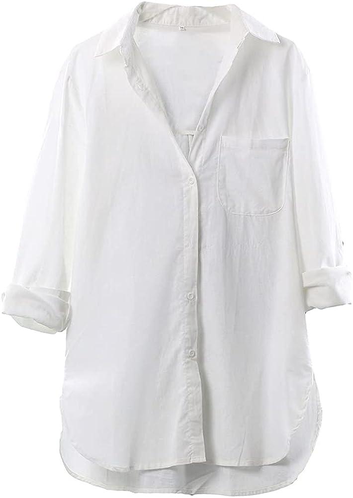Cofouen Women's Cotton Linen Shirts Button Down V Neck Blouse Casual Long Sleeve High Low Tops