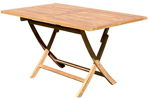 ASS XXL Teak Klapptisch Holztisch Gartentisch Garten Tisch 140x80 cm JAV-Aves Holz Serie JAV von