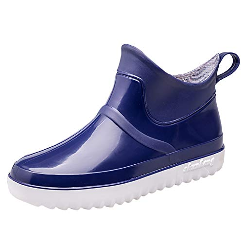 Xia&Han Men's Shoes Short Tube Waterproof Shoes Fashion Non-Slip Low-Top Overshoes Rubber Shoes Solid Color Rain Boots Blue