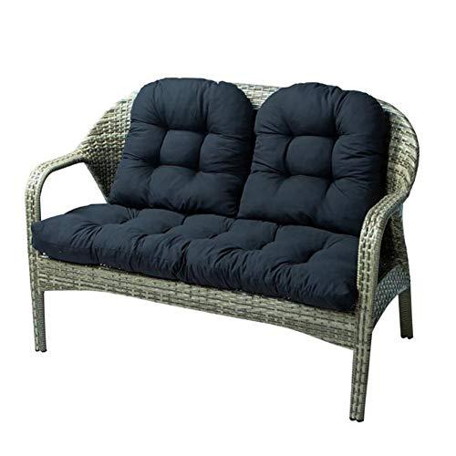 Cuffslee - Juego de 3 cojines para sofá de dos plazas de mimbre, resistente a la intemperie, 1 sofá de dos plazas y 2 en forma de U para interiores y exteriores (negro)