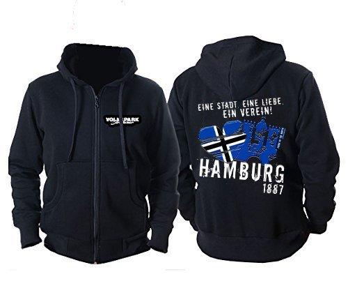 Volkspark Hamburg Streetwear Unisex Zip Hoodie Eine Stadt Eine Liebe EIN Verein (Schwarz, XXL)