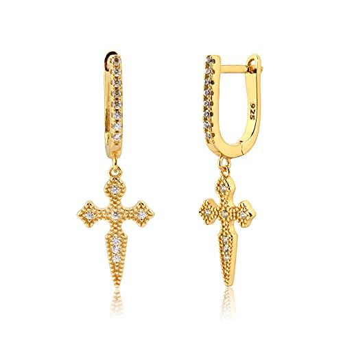 Pendientes Mujer Plata De Ley 925 Colgante De Cruz De Oro Colgante Pendiente De Gota Rock Punk Crystal Cz Zircon Piercing Pendiente Gold