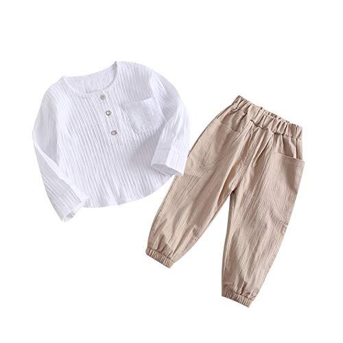 Hongyuangl Kleiner Junge Baumwolle und Leinen Kleidung Sets Langarm Hemd und Hose 2 Stück Outfits 1-4 Jahre