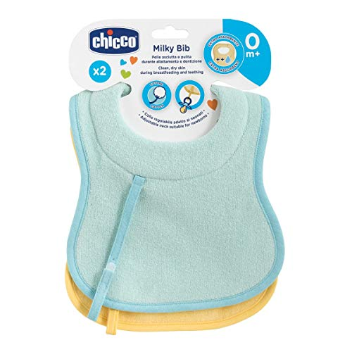 Chicco 00016300200000 Slabje Melkvoeding En Zuigen Gewatteerde Hals X2, Blauw & Geel