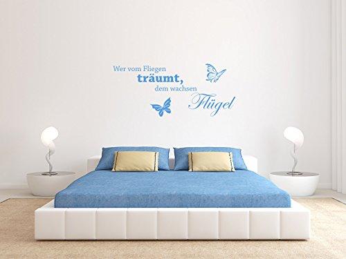 Comedy Wall Art Wer vom Fliegen träumt, dem wachsen Flügel. - Hellblau - ca. 105 x 45 cm