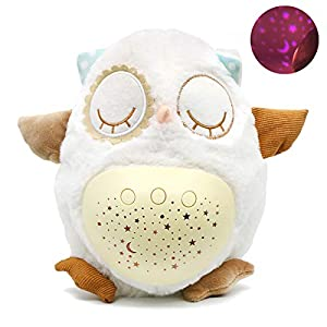 crib bedding and baby bedding marumine baby sleep soother owl white noise machine, sleep aid night light star projector and music, moonlight & melodies hug plush toys, travel pack and play toy for boys girls infant shower gift