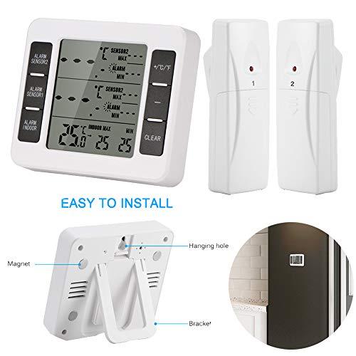 Kabellos Kühlschrank Thermometer Digital LCD Drinnen draußen Temperaturüberwachungsuhr mit Dual Drahtloser Sensor Alarm Erinnerung Funktion Min/Max Record für Zuhause Restaurants