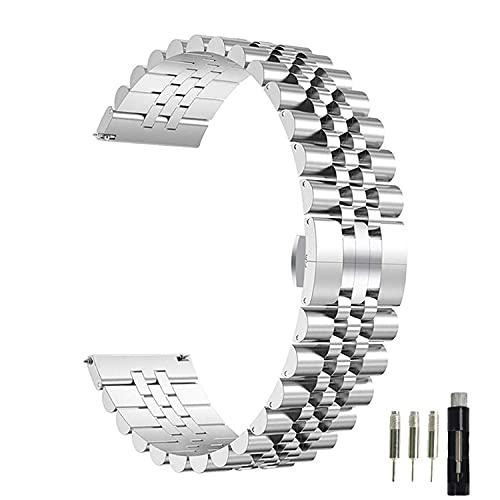 Correa formal de acero inoxidable para Apple Watch Compatible con 40 mm 42 mm 38 mm 44 mm Botón elegante Cierre de mariposa iWatch Band para iWatch Series Se 6 5 4 3 2 1 (Plata, 42/44mm)
