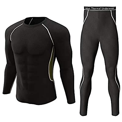 Thermal Underwear Set Winter Hunting Gear Sport Long Johns Base Layer Bottom Top Black with White XL