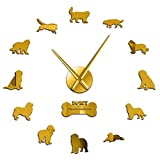 Leeypltm Reloj de Cuarzo de Pared silencioso,Perro de Trabajo Raza Terranova 37 Pulgadas Oro Reloj de Pared 3D DIY Reloj de Etiqueta de Pared para Decorar La Oficina o Casa