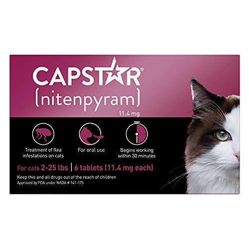 Capstar Fast-Acting Oral Flea Treatment for Cats, 6 Doses, 11.4mg (2-25 Lbs)