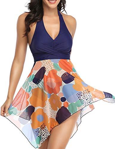 Donpapa Mujer Traje de Baño Tankinis Hálter Falda Push Up Bikini Conjunto de Malla Playa Ropa de Baño de Cintura Alta(Azul Naranja L)
