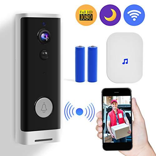 Video TüRklingel 1080p HD-Video mit Batterien Wifi Funk Gegensprechfunktion PIR Bewegungsmelder Echtzeit-Gespräch und Vide, App-Steuerung für iOS und Android (White and Black)