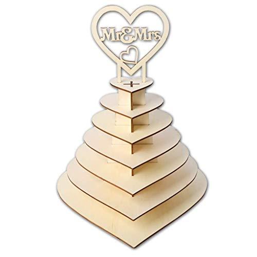 HANMAX – Decoración de Fiesta de Boda con Forma de corazón de 7 Niveles Personalizable Mr & Mrs Ferrero Rocher pirámide para Bodas, postres, Dulces, etc.