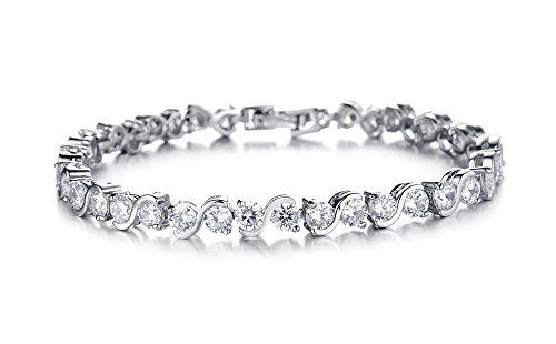 Armband Damen Mädchen Frauen Armbänder armreif 925 Sterling Silber Weißes Gold Einfach...