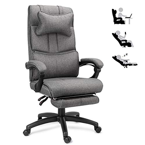 Office Chair, Big & Tall Linen Executive Chair, Desk...