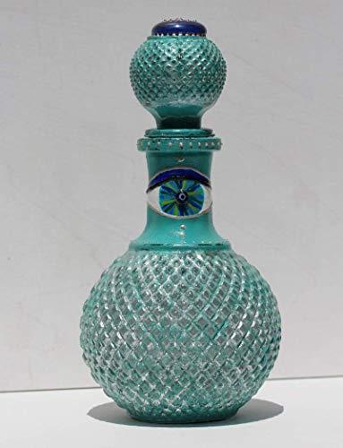 Flasche aus Glas mit Auge, Einzelstück, Karaffe Handbemalt in Türkis Blau im Vintage Stil, Originelles Geschenk für Einzug und Jubiläum, Eye of Hilarion Glücksbringer Design-Serie