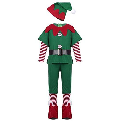 Santa Claus traje de terciopelo súper s adultos Sant 2020 calientes duende verde Niños s ropa traje de Santa Clause for chicos, chicas Año Nuevo de Chilren Fancy Dress Party sistema de la ropa de Sant