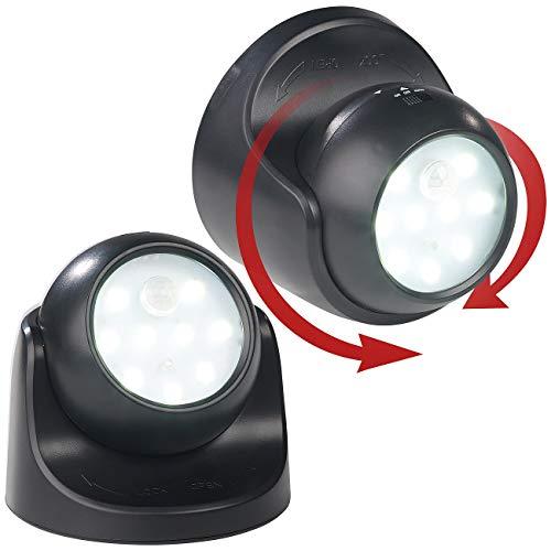 Luminea Lampen Batterie: 2er-Set Kabellose LED-Strahler, Bewegungssensor, 360° drehbar,100 lm (Bewegungsmelder mit Batterie)