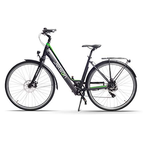 Jetson Journey Electric Bike Battery Powered Road and Commuter Ebike - 9-Speed, Smart LCD Display, Step Thru Frame, Rear Carrying Rack, Front & Rear Disc Brakes (Silver)